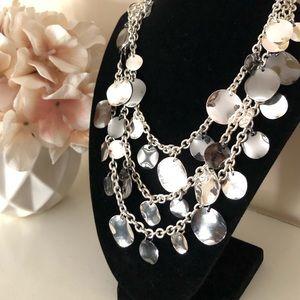 Chunky Silvertone Drape MultiLayer Choker Necklace